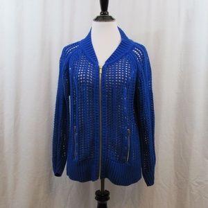 Cache Open Knit Blue Full Zip Cardigan L